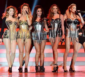 Cheryl and Nadine with ex-bandmates Nicola Roberts, Kimberley Walsh and Sarah Harding