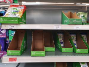 Empty shelves at Sainsbury's at Forestside