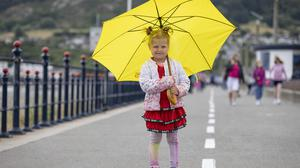 Rebecca Kirsinaite (4), from Drogheda enjoying a day out on Bray seafront, Co Wicklow, yesterday.