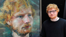 Singing star Ed Sheeran with his portrait painted by NI artist Colin Davidson