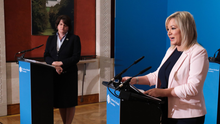 Back on track: First Minister Arlene Foster and Deputy First Minister Michelle O'Neill yesterday