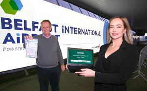 Graham Keddie, Managing Director, BIA and Sophie Boyd, Project Manager, Randox launch a new Covid-19 testing partnership onsite for passengers to help boost consumer confidence in the travel industry.