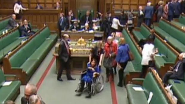 Labour MP Tulip Siddiq is wheeled through the chamber (House of Commons/PA)