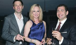 Enjoying the Ruinart Champagne event at the Merchant Hotel, Belfast, are Rob Grundy and Lord and Lady Wellsborough