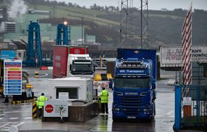 Freight traffic exits the port of Larne