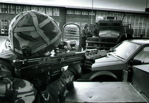 A British Army on patrol in Belfast in the 1990s
