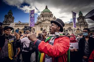 Cuthbert Tura Arutura at a protest over the death of George Floyd at Belfast City Hall last month