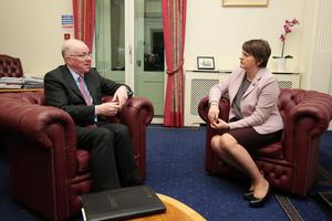 New First Minister Arlene Foster meets the Republic's Minister for Foreign Affairs Charles Flanagan at Stormont Castle yesterday