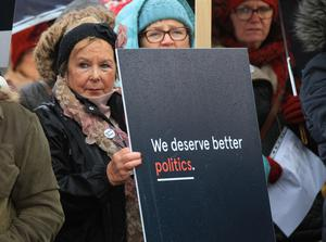Others at the We Deserve Better protest outside Stormont on Saturday