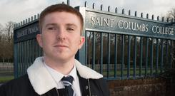 Carrick McClean outside St Columb's College