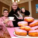 Belfast Lord Mayor Daniel Baker joins Sean Smyth of Eimear's Wish for a coffee and donut at City Hall to launch the 'Donuts for Donors' appeal