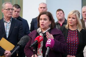 Sinn Fein president Mary Lou McDonald holds a Press conference at Shaftesbury Community and Recreation Centre