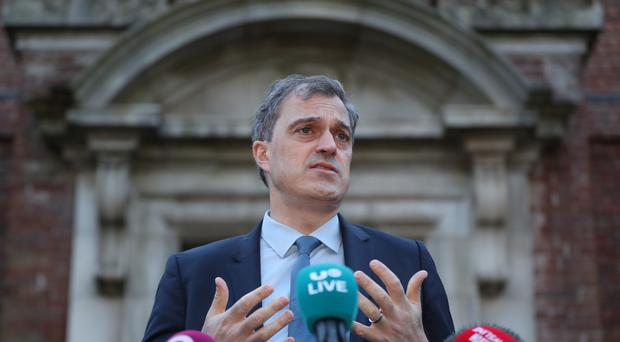 Northern Ireland Secretary Julian Smith speaks to the media at the beginning of talks to restore the Northern Ireland Powersharing executive at Stormont House in Belfast.