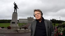 History: Merlin Holland, grandson of Oscar Wilde, at the statue of Edward Carson outside Parliament Buildings in Belfast