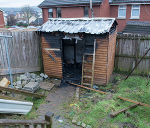 The Shed in Lisa Scarlett's garden in Liscloon Drive, Derry, which was set alight