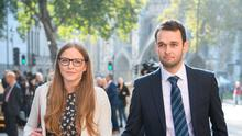 Ashers Bakery owners Amy and Daniel McArthur leaving the Supreme Court in London yesterday