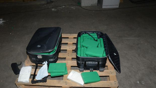 The 50-kilo cache of cocaine hidden inside two suitcases that was seized by police in Ballygawley, Co Tyrone
