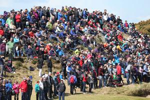 Fans throng the course on the final day yesterday