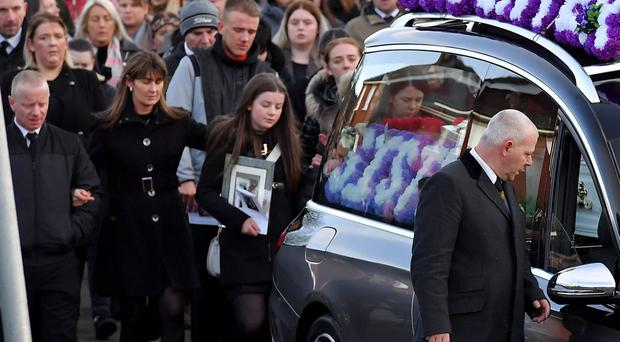 Family and friends at the funeral of Sophie Hamilton