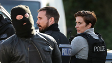 Action: actors Vicky McClure and Martin Compston during Line of Duty filming in Belfast