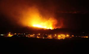 Fires raging near the village of Armoy yesterday