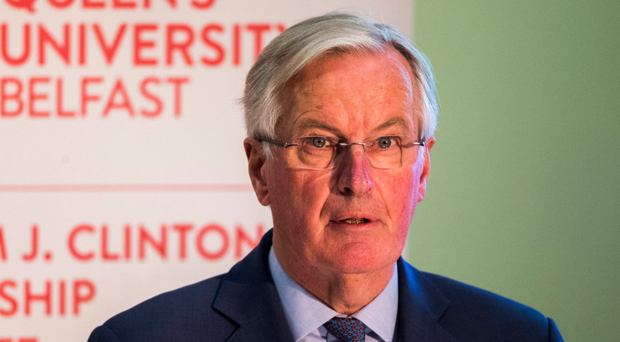 Michel Barnier speaks at Queen's University in Belfast last night