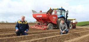 Wilson's Country agronomist Stuart Meredith and Co Down potato grower Raymond Patterson (left)