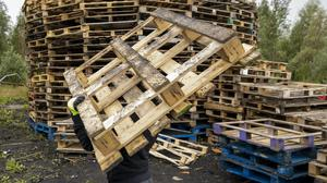 Pallets have been gathered for bonfires in Belfast (Liam McBurney/PA)
