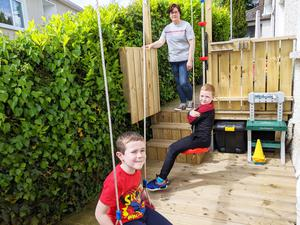Child-minder Shauna Duffy with sons Keelan (9) and Christopher (5)