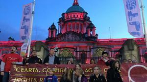 Belfast City Hall was lit up in red as part of thecampaign (David Young/PA)