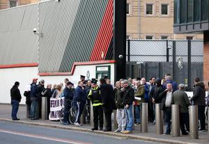 Loyalists protest outside Musgrave Police Station ahead of a meeting with the PSNI about the clashes at Ormeau last week