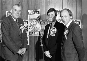 A young Jim Allister with DUP colleagues Ian Paisley and Peter Robinson in 1983