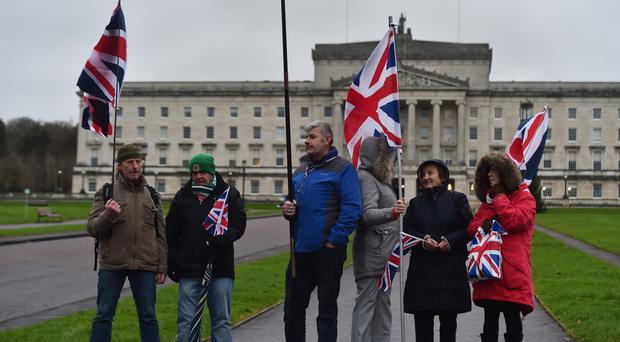 Loyalist protesters outside Stormont yesterday