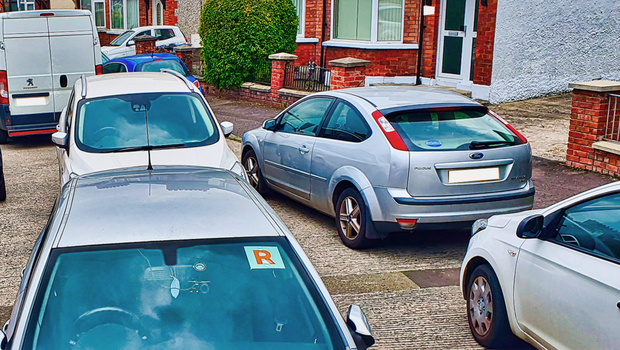 Cars parked on Dunluce Avenue in south Belfast