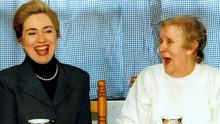 Hilary Clinton First lady USA in Belfast having tea with Joyce McCartans 1995