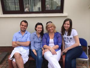 Richard with sisters Gemma and Helen and his mother Janet