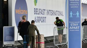 Travellers arriving at Belfast International Airport for their flights on Monday (Liam McBurney/PA)