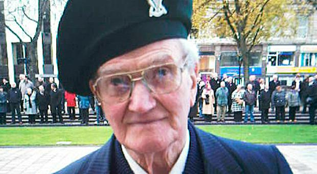 Rowland Todd at a Remembrance Day service at Belfast Cenotaph