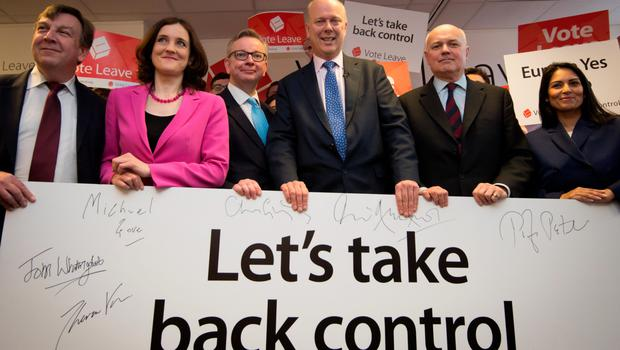 John Whittingdale, Theresa Villiers, Michael Gove, Chris Grayling, Iain Duncan Smith and Priti Patel attend the launch of the Vote Leave campaign
