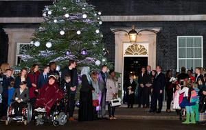 Michaela Hollywood joined PM David Cameron and others as the Downing Street Christmas tree lights were switched on