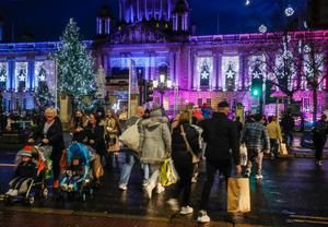 Busy, busy: Shoppers take to the streets of Belfast city centre on Sunday