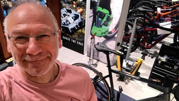 Nigel Carr gears up for April's bike ride