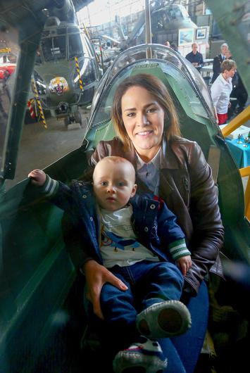 Kerry and Austin Kearney at the Belfast Telegraph Spitfire launch at the Maze in Lisburn