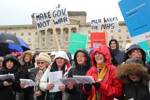 Some of those at the We Deserve Better protest at Stormont calling for MLAs to get back to work