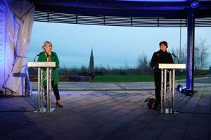 Historic site: Michelle O'Neill and Arlene Foster address media on the Hill of The O'Neill high above Dungannon