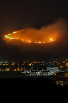 The gorse fire started by arsonists on Berish Viewpoint near Newry