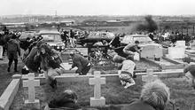 Violent career: A grenade thrown by Stone explodes in MiIltown Cemetery in 1988