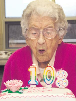Ellie Lawther during her 108th birthday