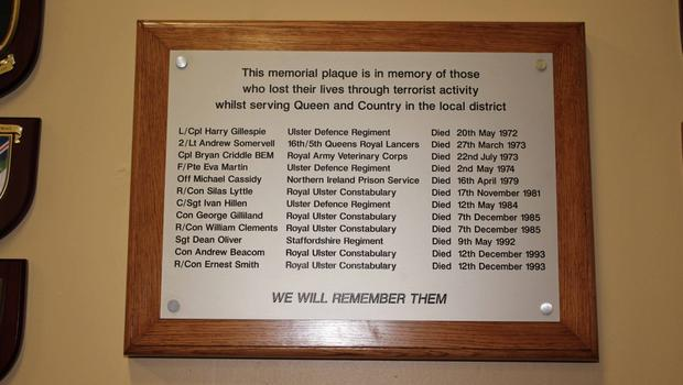 The plaque in memory of 12 murdered security personnel