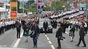 The funeral procession of former leading IRA figure Bobby Storey (Liam McBurney/PA)
